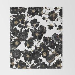 Modern Elegant Black White and Gold Floral Pattern Throw Blanket