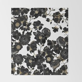 Modern Elegant Black White and Gold Floral Pattern Throw Blanket