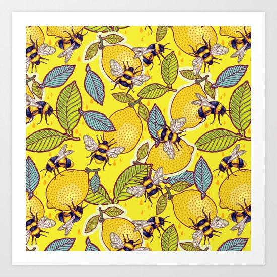 Yellow lemon and bee garden. Art Print