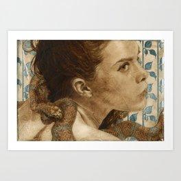 'Original Sin Rebirth' Woman and Snake Portrait Painting in Brown Art Print