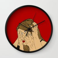 introvert Wall Clocks featuring Introvert 5 by Heidi Banford