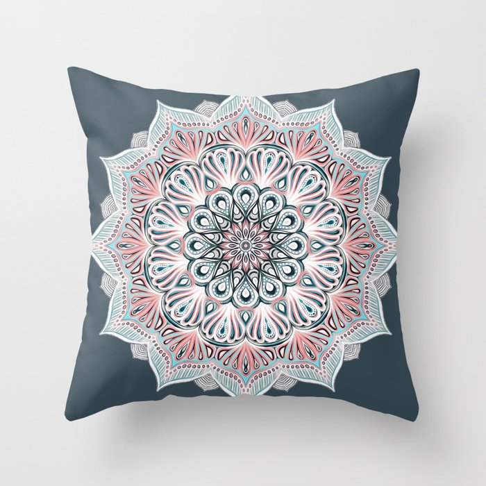 Expansion   boho mandala in soft salmon pink & blue Throw Pillow