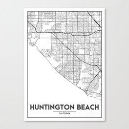 Minimal City Maps - Map Of Huntington Beach, California, United States Canvas Print