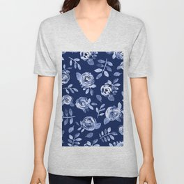 Hand painted navy blue white watercolor floral roses pattern Unisex V-Neck
