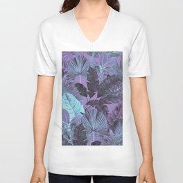 Tropical Leaf Lilac Unisex V-Neck