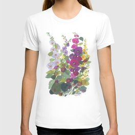 Purple Hollyhock Garden T-shirt