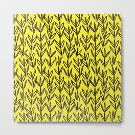 Yellow Floral Brush Strokes Pattern Background Metal Print