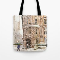 takmaj Tote Bags featuring Winter in NYC by takmaj