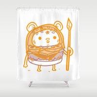 ewok Shower Curtains featuring Cheeseburger Ewok by Philip Tseng