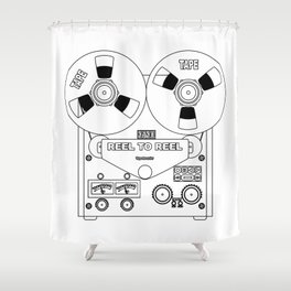 Reel To Reel Line Drawing Shower Curtain