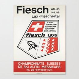 championnats suisses de ski alpin vintage Poster Canvas Print