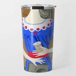 Lady in a blue dress Travel Mug