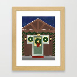 Rustic Christmas Night Framed Art Print
