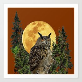 BROWN WILDERNESS OWL WITH FULL MOON & TREES Art Print
