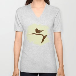 Brown Bird Silhouette Unisex V-Neck