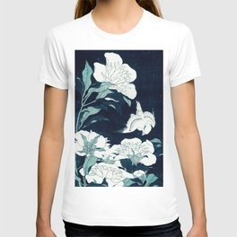 JAPANESE FLOWERS Midnight Blue Teal T-shirt