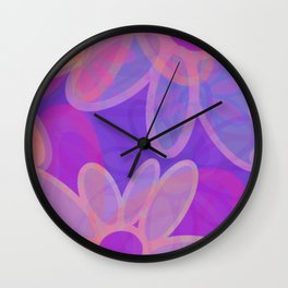 FIORI bright jumbo floral abstract in vivid pink purple blue Wall Clock