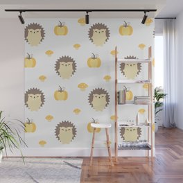 cute fall autumn pattern with hedgehogs, pumpkins and mushrooms Wall Mural
