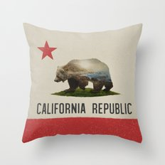 California Grizzly Bear Flag Throw Pillow