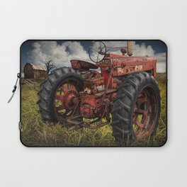 Abandoned Old Farmall Tractor in a Grassy Field on a Farm Laptop Sleeve