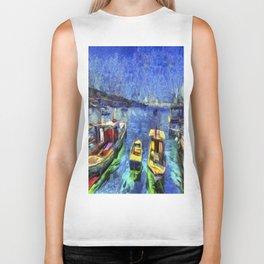 Boats and Sea Impressionist Art Biker Tank