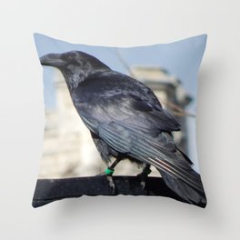 Tower Raven Standing Guard Throw Pillow