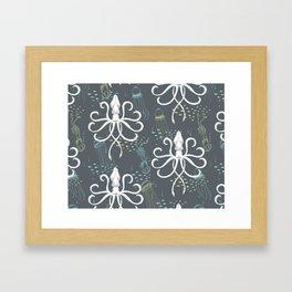 Ghostly Squid Damask Framed Art Print