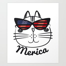 3384762f0c3 Merica Memorial Day Cat Funny American Flag Art Print
