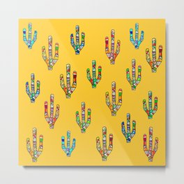Mosaic Cacti on Yellow Metal Print