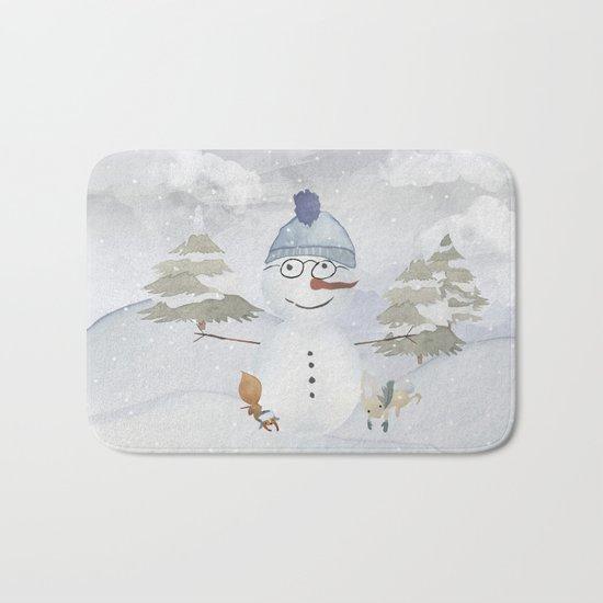 Winter Wonderland- Funny Snowman and friends - Watercolor illustration Bath Mat