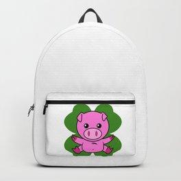 Pig On Four Leaf Clover - St. Patricks Day Funny Backpack