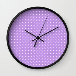 Mini Lilac with White Polka Dots Wall Clock