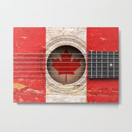Old Vintage Acoustic Guitar with Canadian Flag Metal Print