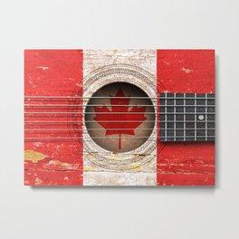 Old Vintage Acoustic Guitar with Canadian Flag Metal Print