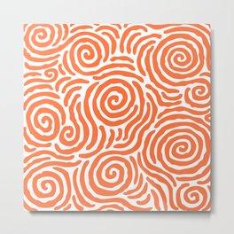 Ripple Effect Pattern Orange Metal Print