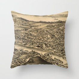 Vintage Pictorial Map of Catskill New York (1889)  Throw Pillow