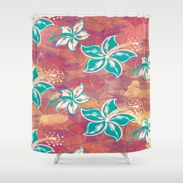 Teal Watercolor Hibiscus Jungle Print Shower Curtain