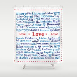 "Pattern of the words ""Love"" in different languages of the World Shower Curtain"
