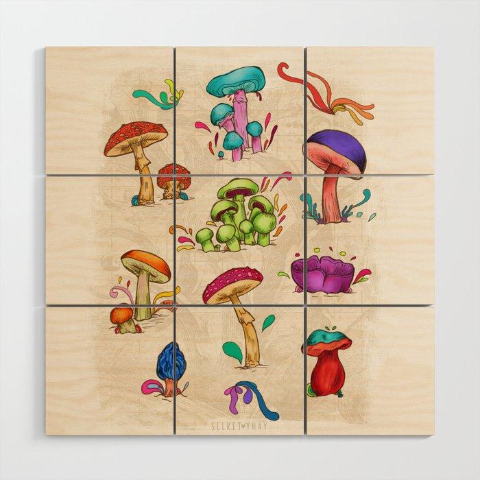 Mushrooms Wood Wall Art