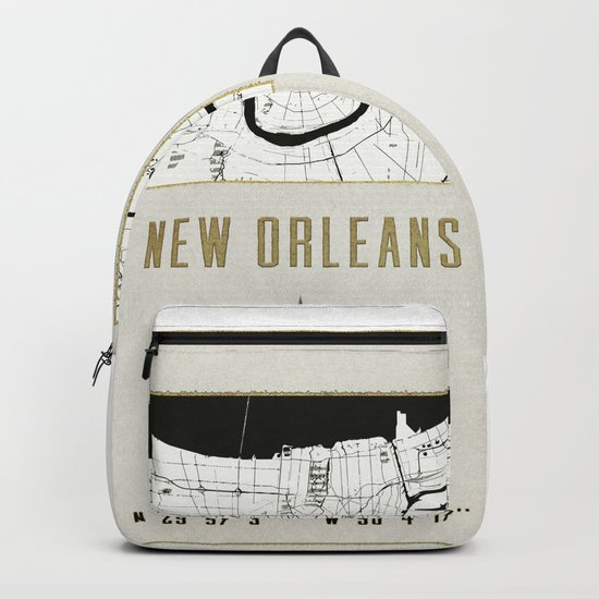 New Orleans - Vintage Map and Location Backpack