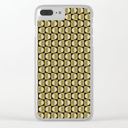 Geometric pattern with half-circles on squares in black, yellow-gold and ocher Clear iPhone Case
