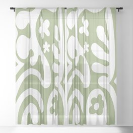 Hippie Retro Trippy Mod Design in Sage Green and White Sheer Curtain
