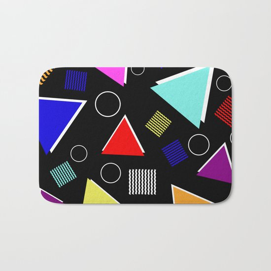 Fun Retro - Triangles, rings and waves patterned design, blue, red, purple, pink, yellow Bath Mat