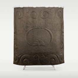 Brown vintage faux leather Shower Curtain