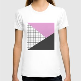 Geometry: black, pink and squres T-shirt