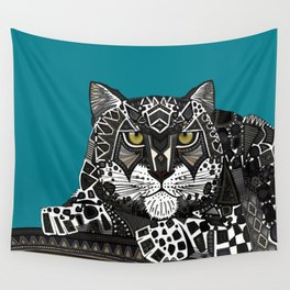 snow leopard teal Wall Tapestry