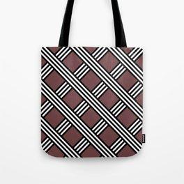 Pantone Red Pear, Black & White Diagonal Stripes Lattice Pattern Tote Bag