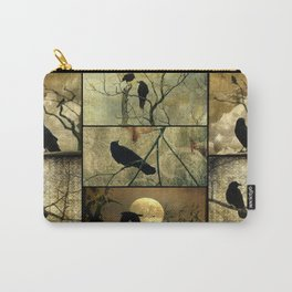 Aged Crow Collage Carry-All Pouch