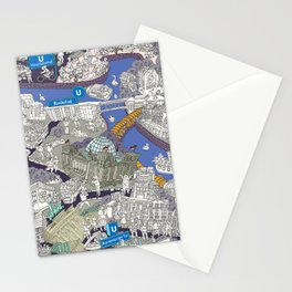 Illustrated map of Berlin-Mitte. Blue Stationery Cards