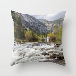 Mirror Lake and Rapids at Yosemite Throw Pillow
